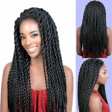 18'' Black  Long Crochet Braided Wigs Synthetic Lace Front Wig for Black Women