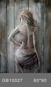"""INCREDIBLE Outdoor 3D Metal Wall Art Handcrafted 24"""" x 36"""" Large Nude Girl Figur"""