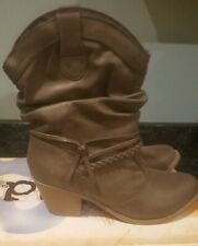 Mudd Ankle Boots Brown with Strappy Buckles Size 8M Taupe Cowgirl Club Fun