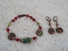 Brasstone Red Green Glass Bead Cloisonne Bracelet + Pierced Earrings (B37)