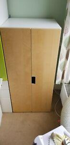 Ikea Stuva Malad Short Children's Wardrobe With Birch Wood Doors  130cm h 60cm w