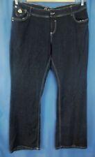 Dereon Jeans 22W Stretch Straight Leg Dark Blue Denim Silver Fleur Embroidery