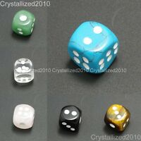 Natural Gemstone Dots Square Dice Bead Game Toys Casino Lucky Crystal Reiki 15mm