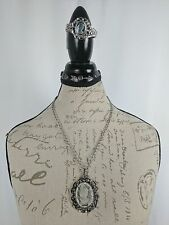 Vintage Whiting Davis Crystal Cameo Intaglio Silver Tone Necklace and Bangle Set