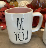 Rae Dunn - BE YOU - Ceramic Coffee Mug w Pink Inside