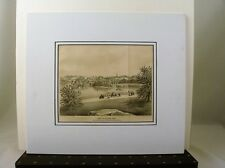 """Original Lithograph  """"View Of Central Park""""  drawn by George Hayward ca. 1867"""