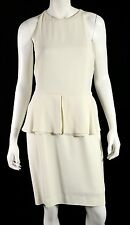 DIOR Spring 2008 NWT White Crepe Sable Peplum Waist Sheath Dress 42