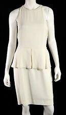 DIOR Spring 2008 NWT White Crepe Sable Peplum Waist Sheath Dress 42