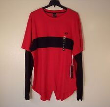 NWT MEN'S 4X ENYCE L/S RED/BLACK LOGO CREW FISHTAIL QUILTED TEE T-SHIRT $48 #751