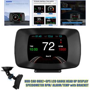OBD2+GPS Speedometer Car HUD Head Up Display RPM/Alarm/Temp/Voltage with Bracket