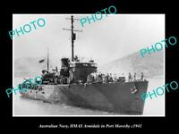 OLD LARGE HISTORIC PHOTO OF AUSTRALIAN NAVY HMAS ARMIDALE AT PORT MORESBY c1941