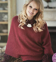 KNITTING PATTERN Ladies Slash Neck Jumper Loose Fit Sweater Ribbed Trim Rowan