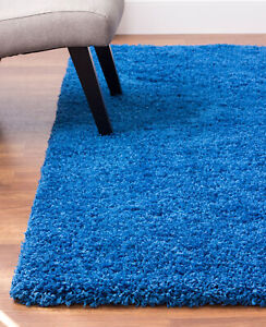 Soft & Plush Solid Shag Rug Blue Carpet 4' x 6'