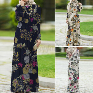 Women's Muslim Islamic Abaya Kaftan Floral Print Oversized Loose Long Maxi Dress