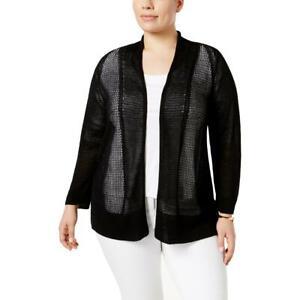 Alfani Womens Black Mixed Stitch Layering Cardigan Sweater Top Plus 3X BHFO 8578