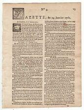 1761, Jan. 24, Original French Gazette # 4, taken ship from Carolina and Boston