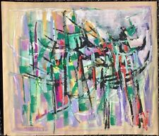 1961 Australian Abstract Painting By Allen David. Harbor Memory. Sydney. Signed