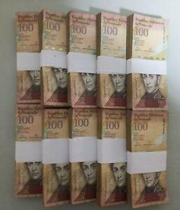 2007-2015 Venezuela 100 Bolivares BRICK 1000 Pcs. F, VF, XF USED 10 Bundles e