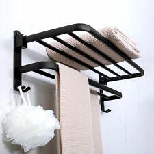 Foldable Double Chrome Towel Rack Bar Wall Mounted Holder Bathroom Shelf Storage