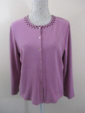 Hawkshead cardigan size 16. Dusky pink. Purple leaves emroidered around collar.