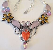 "❤️GODDESS FACE RED CORAL & ROSE QUARTZ GEMSTONE NECKLACE ~ SILVER ~ 18"" w/ BOX❤️"