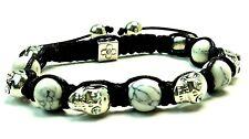 Silver Skull Bracelet Crystal Rhinestone Agate Beaded Adjustable NEW
