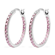 925 Sterling Silver Cubic Zirconia CZ Inside out Hoops Hoop Earrings for Women