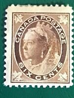 Canada stamp QV 6c brown MH
