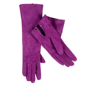 40cm Women's Real Suede leather Botton Wrist Party Evening Opera/long Gloves