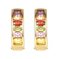 Women 18K Gold Plated Multi-color Cubic Zirconia Hoop Huggie Earrings Jewelry