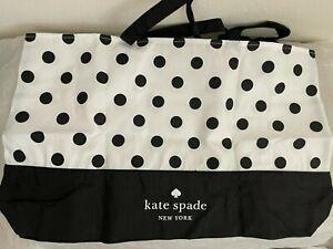 NWOT Kate Spade Extra Large Beach Shop Reusable Tote Bag White Black Dot GWP
