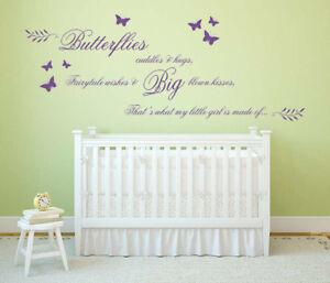 Butterflies, Cuddles & Hugs, A Little Girl is Made Of - Vinyl Wall Art Sticker