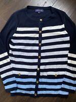 JONES OF NEW YORK Womens Cardigan Sweater Size Med NWOT BLUE STRIPED