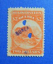 1870 $2.00 CANADA QUEBEC REGISTRATION REVENUE VD# QR13 B# 10 USED PERF12 CS32226