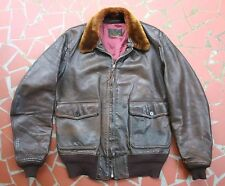 Original WW-2 USN M-422A Fried Ostermann Size 40  Leather Bomber Flight Jacket