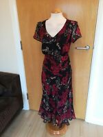 Ladies Dress Size 14 Black Red Chiffon Party Evening Wedding Races Occasion
