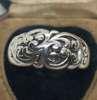 Vintage Sterling Silver Ring 925 Size 10.5 Floral Scroll Band Thick