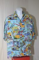 Pineapple Moon Hawaiian Shirt Aloha Tiki Coconut Tropical Exotica Large