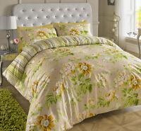 Floral Rose Cotton Rich Reversible Duvet Set Light Beige Lime Double King super