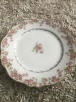"""Two Limoges 8.5"""" Plates Pink Rose GDA CH Field Haviland"""