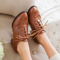 Women Flats Oxford Pointy Toe Lace Up Retro Brogue British Casual Creepers Shoes