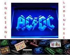 LED PANNEAU ROCK ACDC AC/DC PUB MUSIQUE ENSEIGNE BAR CAFE LUMINEUSE NEON LAMPE