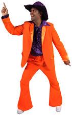 """Mens 70's Disco Fever Bright Neon Orange Suit Fancy Dress Medium Upto 40"""" Chest"""