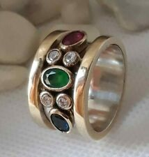 AAA QUALITY STERLING 925 SILVER JEWELRY EMERALD,SAPPHIRE,RUBY,TOPAZ BAND RING