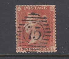 Great Britain Sc 20b used. 1857 1p red brown Queen Victoria