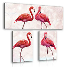 SET (3 teilig) Leinwandbild Wandbild Flamingo Vogel Tier Design Rosa 3FX10199S16