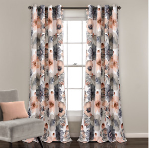 "Lush Decor Leah Room Darkening 84""L Floral Coral 100% Polyester Grommet Curtains"