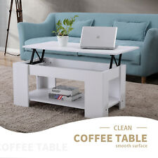 Modern White Wood Lift Coffee Table Hidden Storage Space Living Room Furniture