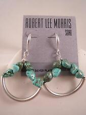 Robert Lee Morris genuine silver plated turquoise bead dangle earrings, NWT