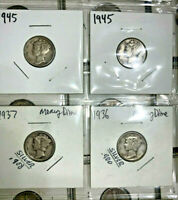 Lot of Five (5) Mercury Dimes 90% Silver All Readable Dates 1916-1945